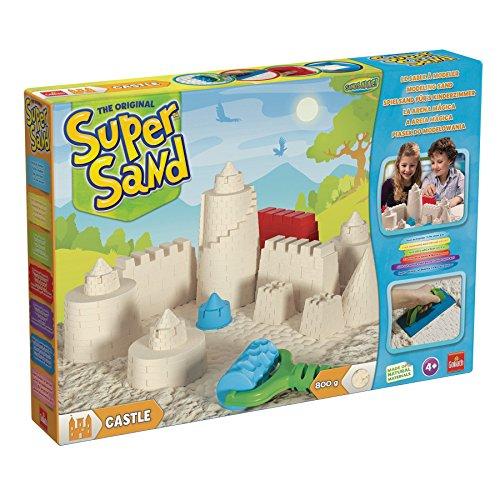 Goliath 83219 - Super-Sand-Set Castle, modellierbarer magischer Sand bringt Burgen ins Kinderzimmer, handliche Sandkasten-Box, bunte Burg-Förmchen, ab 4 Jahren